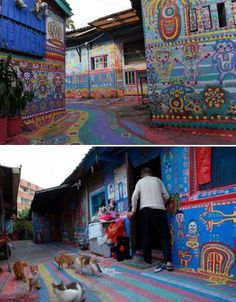 The local council in Taichung, Taiwan had decided to demolish the remains of an abandoned 1940s military encampment on the outskirts of its suburban community, but an elderly resident named Huang Yunfu had another idea. He covered the entire site in colorful pairings, turning it into an outdoor gallery. It's now called 'Rainbow Village.'