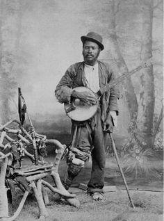 Banjo Player in studio - notice his artificial leg