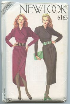 1980s New Look 6163 Misses' Mock Wrap Dress with by GreyDogVintage