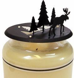 3-D #Moose and #Pine #Candle #Jar #Topper http://www.okdecor.com/candleware-large-jar-candle-toppers.html