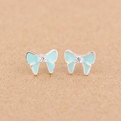Sale 25% (2.86$) - 925 Sterling Silver Crystal Bowknot Epoxy Enamel Earrings For Women