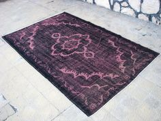 Handmade Turkish Unique Black and Soft Pink Rug ,in a class of one's own unique rug 5'5 x 8'6 feet by AvangartRug on Etsy