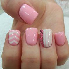 Nails white nails, pink nails, get nails, fancy nails, love nails Get Nails, Fancy Nails, Love Nails, Botanic Nails, Pretty Nail Designs, Simple Nail Designs, White Nails, Pink Nails, Chevron Nails