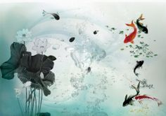 The Fish in The Lotus Pond Chinese Style Wall Mural, 6-Feet 4-Inch By 4-Feet 2-Inch - Amazon.com