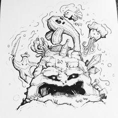 8th of Inktober : Rock #inktober2016 #inktober #rock #stone #coral #water #underwater #fish #star #starfish #seaweed #jellyfish #castle #shrimp #crab #bottle #sea #pirate #draw #drawing #cute #animal #sketch #sketchbook #art