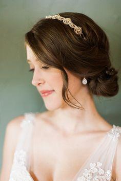 low bun with headband, photo by Rachel Havel http://ruffledblog.com/woodland-park-wedding #weddinghair #hair #beauty
