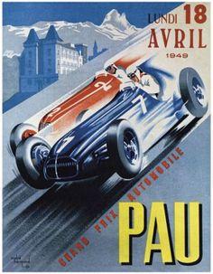 Vintage  Grand Prix de Pau Auto racing Giclee Art Print