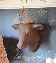 Farmhouse Chic Cow Head with Tin Crown~ I will have something similar for outdoor living room :)
