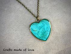 Aqua heart shaped pendant by CraftsMadeOfLoveShop on Etsy https://www.etsy.com/nz/listing/501836730/aqua-heart-shaped-pendant