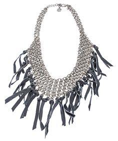 { Boho Grey Leather Fringe Necklace }