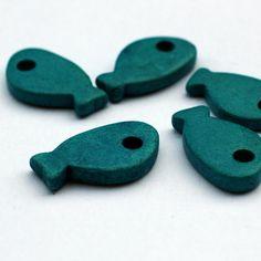 Turquoise Ceramic Fish Beads 5pcs - C 10 041