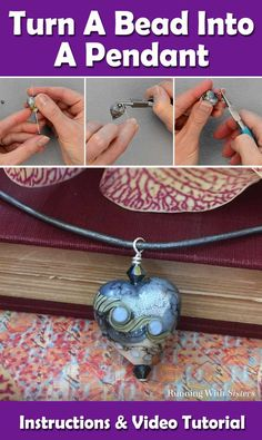 DIY Pendant - Learn how to turn a bead into a pendant with the step by step jewelry project. Includes lots of photos and a complete video tutorial showing how to use a head pin, a lampwork glass heart bead, and two bicone crystal beads into a pretty pendant to hang on a leather cord. Super easy jewelrymaking project for beginners and experts alike!