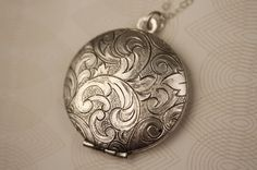 Floral Silver Necklace Locket Monogram Sterling by FreshyFig