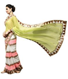 Brijraj Fashions Mint Green Indian Look, Work Sarees, Sarees Online, Designer Wear, Mint Green, Trendy Outfits, Harem Pants, Lace, How To Wear