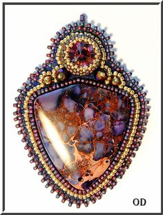 Deliciouse. Bead Embroidery Pendant. BEADED by Olgaterranova