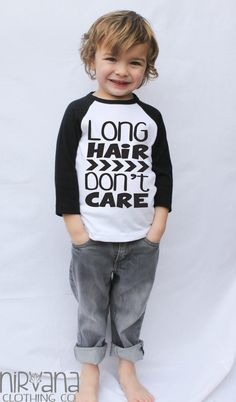 Long Hair Don't Care ARROWS Toddler Raglan by NirvanaClothingCo
