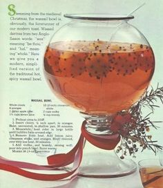 1960s recipe for Wassail Bowl. love the presentation, I think I'd prefer whiskey over vodka.  Might try that.