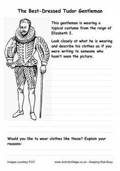 Tudor Fashion Worksheets - Elizabethan Male Costume
