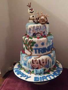 Disney's frozen. Fondant charater cake toppers.  Lots of work but had a fun time makingit!!!!  :O)
