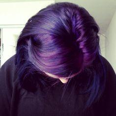 Purple hair with blue lowlights!!.