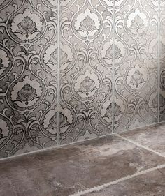 Shop our range of patterned tiles for floors and find the perfect tiles to suit you. Tiles Uk, Tin Tiles, Decorating Jobs, Damask Wall, Garden Tiles, Topps Tiles, Encaustic Tile, Modern Victorian, Vintage Tile