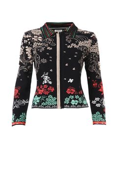 Floral Pattern Zip Jacket - Jacket | Ivko Woman