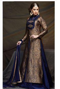 #Brown #Banarasi #Brocade #Achkan Style #Salwar #Kameez #nikvik  #usa #designer #australia #canada #freeshipping #dress #suits