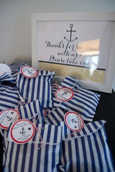 ideas for baby shower favors nautical signs Sailor Baby Showers, Anchor Baby Showers, Nautical Bridal Showers, Nautical Theme Baby Shower, Baby Shower Yellow, Baby Yellow, Baby Boy Shower, Baby Shower Favors, Baby Shower Parties