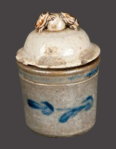 Extremely Rare Decorated Stoneware Preserve Jar with Dung Beetle Lid, Anna Pottery, circa 1880