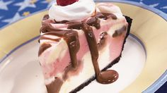Relish this raspberry and chocolate fudge frozen pie – an elegant dessert.