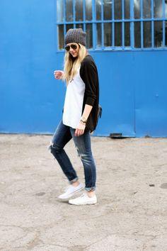 beanie & boyfriend jeans