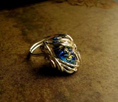 Sunlight Water - Blue Fairy Lava Wire Wrapped Elven Princess Ring - Size 6.75 to 7.25 - Gold Green AB - Vitrail Color Shift  Wire Opal Like by LadyPirotessa, $36.98 USD
