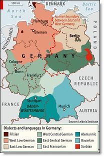 Map of German Dialects and Migration