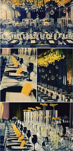 love the yellow tulips growing from the ceiling and the gerbera daisies