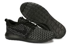 2bf57fa8b665 April 2018 Sping Summer Sale Nike Flyknit Roshe Run Flyknit Blackout  Anthracite Dark Grey 677243 001
