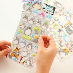 Totoro 3D Sticker Sheet Glow-in-the-Dark Luminous Cute by mopapo