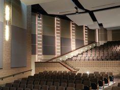 Home Theatre Ideas Theatre Design, Hall Design, Church Design, Acoustic Ceiling Panels, Auditorium Design, Modern Church, Church Interior, Building Design, Interior Design