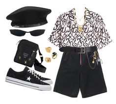 """""""Untitled #615"""" by youraveragestyle ❤ liked on Polyvore featuring Alexander Wang, Palm Angels, Barneys New York, Yves Saint Laurent, Marimekko, Paloma Picasso, Versace, Moschino, men's fashion and menswear"""