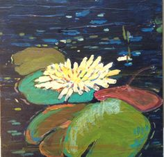 """Lily Pads 12"""" x 12"""" Acrylic SOLD rea@reakelly.com"""