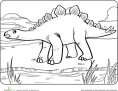 Worksheets: Color the Dinosaur: Stegosaurus