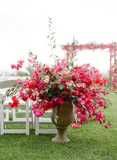 Wedding Flower Arrangements Bright pink bougainvillea- love for spring weddings! - This fete proves that pink can brighten any day, even when a bit of rain decides to make an appearance. Mod Wedding, Floral Wedding, Wedding Colors, Wedding Flowers, Wedding Ceremony, Wedding Church, Trendy Wedding, Wedding Bouquets, Ceremony Decorations