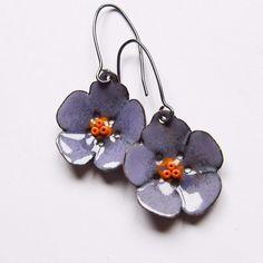 Flower Dangle Earrings, Enamel Jewelry, Purple Flower Earrings, BohemianJewelry.