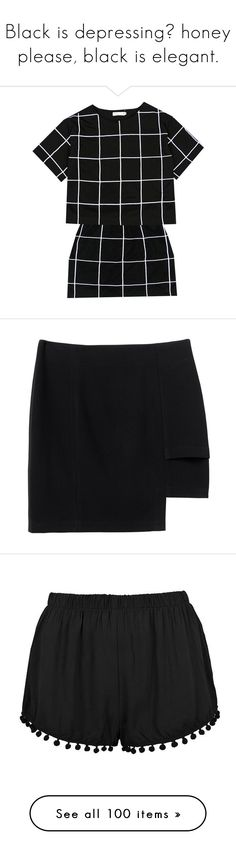 """""""Black is depressing? honey please, black is elegant."""" by b-campos ❤ liked on Polyvore featuring dresses, tops, skirts, black, bottoms, clothes - skirts, black magic, monki, shorts and short"""