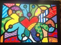 Made this painting Mother's Day / birthday gift for my best friends mom. She loves and collects Britto goodies.