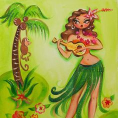 Hula Girl Tattoos, Rockabilly Baby, Miss Fluff, Glamour Dolls, Peach And Green, Tattoo Designs For Girls, Girls Quilts, Ocean Art, Flowers In Hair