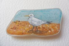 Seagull on the beach  Acrylic miniature by ShePaintsSmallThings, $19.00
