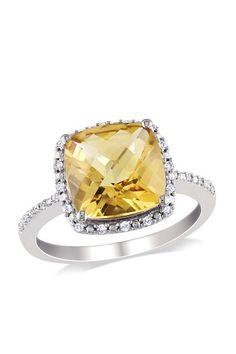Sterling Silver Cushion Cut Citrine and Diamond Ring