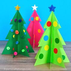 Simple and colorful paper 3D Christmas Tree Craft for kids. Fun Christmas craft for kids, paper Christmas tree craft and Christmas activities for kids.