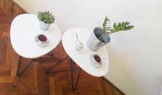 White coffee tables set ASYMETRIC // Scandinavian style // wood+metal…