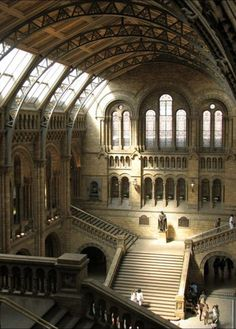 Central Hall of London's Natural History Museum (designed in the 1860s in the German Romanesque style by architect Alfred Waterhouse), London, England, UK.